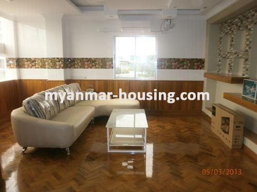 Myanmar real estate - for rent property - No.1111 - Quiet and residential  condo near Kandawgyie Lake - Don't miss the chance! - View of the living room.