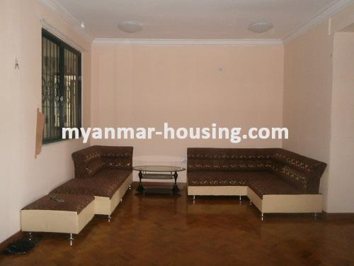 Myanmar real estate - for rent property - No.2176 - Furnished Room Suitable for Single Person /Couple /Small Family in Diamond Condo! - View of the living room.