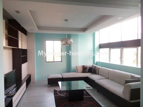 Myanmar real estate - for rent property - No.3109 - Available good condominium for rent near Chatrium Hotel. - View of the living room.