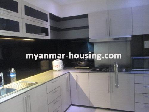 Myanmar real estate - for rent property - No.3109 - Available good condominium for rent near Chatrium Hotel. - View of the kitchen room.