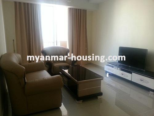 Myanmar real estate - for rent property - No.3360 - Modernize decorated condo room for rent in Star City.  - View of the Living room