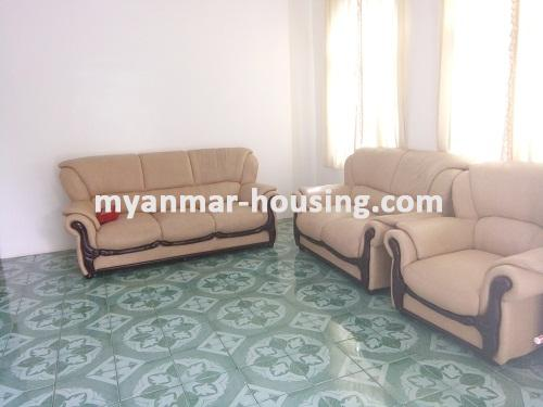 Myanmar real estate - for rent property - No.3495 - A good apartment for rent in Bahan Township. - View of the living room