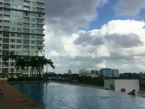 Myanmar real estate - for rent property - No.3920 - Decorated condo room for rent in G.E.M.S Hlaing! - Pool view