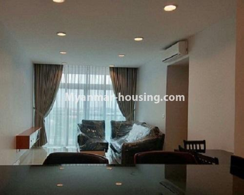 Myanmar real estate - for rent property - No.3920 - Decorated condo room for rent in G.E.M.S Hlaing! - Living room view