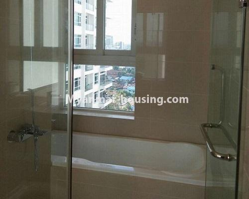 Myanmar real estate - for rent property - No.3920 - Decorated condo room for rent in G.E.M.S Hlaing! - master bedroom bathroom view