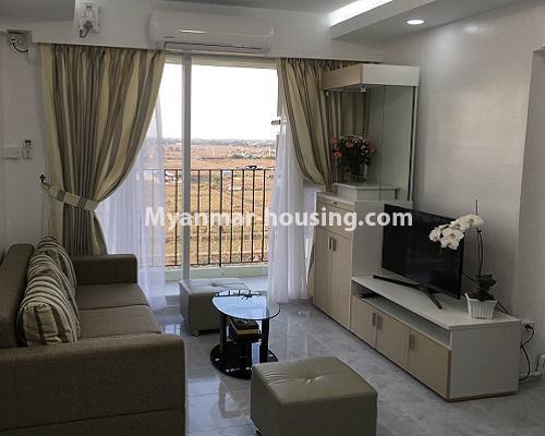 မြန်မာအိမ်ခြံမြေ - ငှားရန် property - No.4001 - ဒဂုံဆိပ်ကမ်းမြို့နယ်တွင် တိုက်သစ်ကွန်ဒွန်ခန်းငှါးရန်ရှိသည်။living room