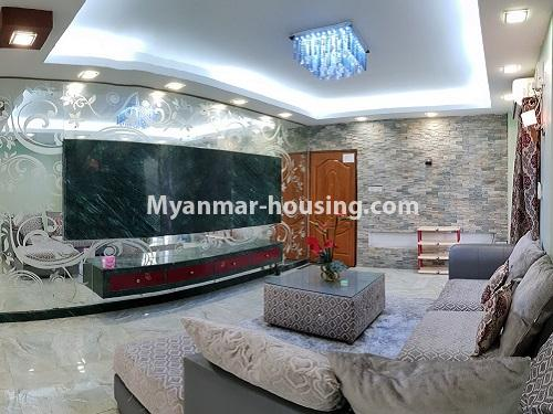 Myanmar real estate - for rent property - No.4025 - Penthouse and 8 floor for rent in Yae Kyaw Street. - living room