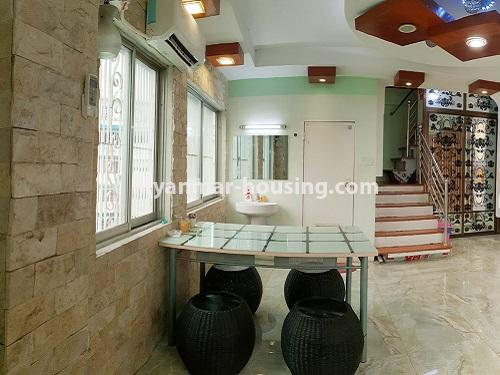 Myanmar real estate - for rent property - No.4025 - Penthouse and 8 floor for rent in Yae Kyaw Street. - dining area