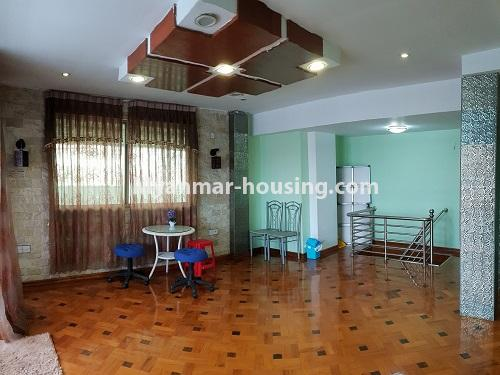 Myanmar real estate - for rent property - No.4025 - Penthouse and 8 floor for rent in Yae Kyaw Street. - large space of living room
