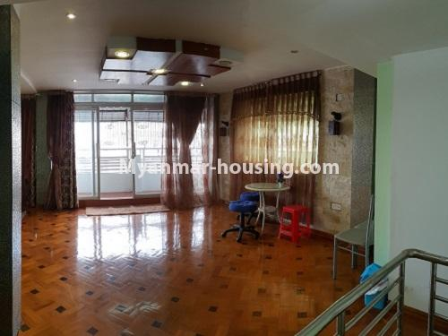 Myanmar real estate - for rent property - No.4025 - Penthouse and 8 floor for rent in Yae Kyaw Street. - another view of large living room