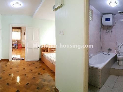 Myanmar real estate - for rent property - No.4025 - Penthouse and 8 floor for rent in Yae Kyaw Street. - master bedroom and bathroom