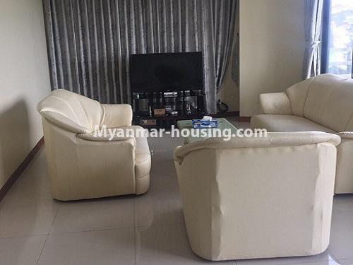 ミャンマー不動産 - 賃貸物件 - No.4100 - A Good Condominium room for rent in Mingalar Taung Nyunt. - living room