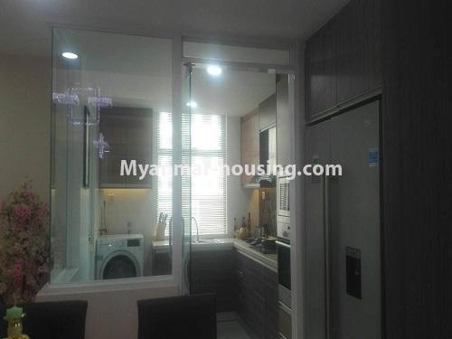 မြန်မာအိမ်ခြံမြေ - ငှားရန် property - No.4232 - ရန်ကုန်မြို့လည်ခေါင်တွင် ကွန်ဒိုခန်းအသစ် ငှားရန်ရှိသည်။another view of kitchen