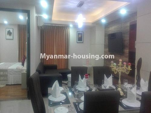 မြန်မာအိမ်ခြံမြေ - ငှားရန် property - No.4232 - ရန်ကုန်မြို့လည်ခေါင်တွင် ကွန်ဒိုခန်းအသစ် ငှားရန်ရှိသည်။ another viedw of dining area