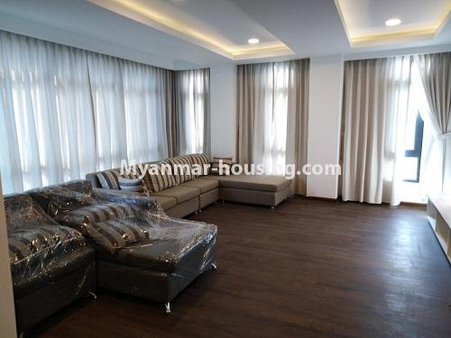 Myanmar real estate - for rent property - No.4242 - New condo room for rent on Parami Road. - living room view
