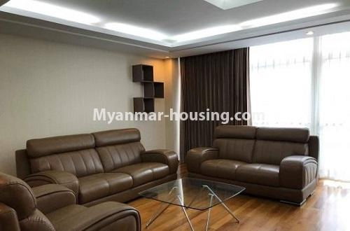 Myanmar real estate - for rent property - No.4271 - Shwe Hin Thar condo room for rent in Hlaing! - living room view