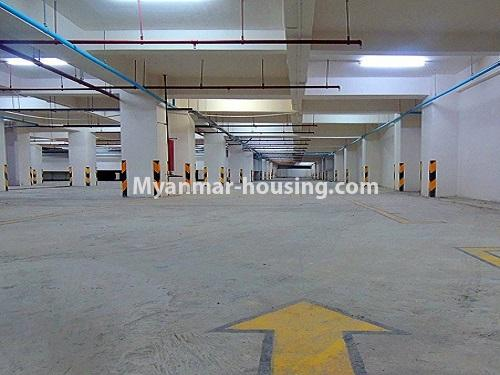 Myanmar real estate - for rent property - No.4272 - Golden Parami Condo room for rent in Hlaing! - car parking view