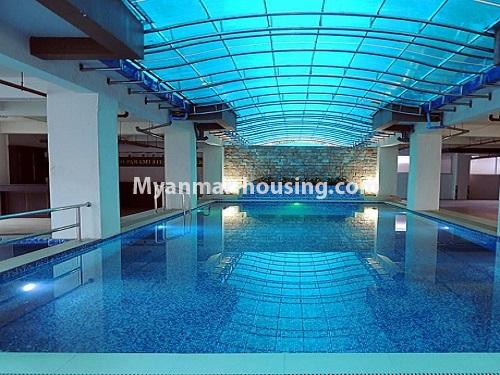 Myanmar real estate - for rent property - No.4272 - Golden Parami Condo room for rent in Hlaing! - swimming pool view