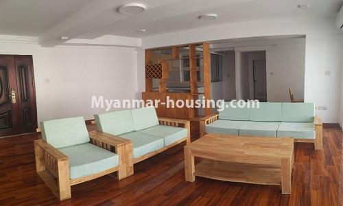 Myanmar real estate - for rent property - No.4378 - New condominium room for rent in Dagon Seikkan! - Living room