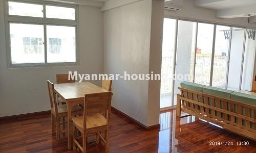 Myanmar real estate - for rent property - No.4378 - New condominium room for rent in Dagon Seikkan! - dining area