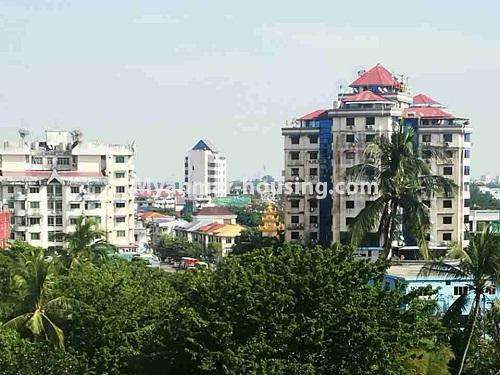 မြန်မာအိမ်ခြံမြေ - ငှားရန် property - No.4420 - သင်္ဃန်းကျွန်းတွင် တိုက်သစ် ပြင်ဆင်ပြီး ကွန်ဒိုခန်းငှားရန်ရှိသည်။outside view from the room