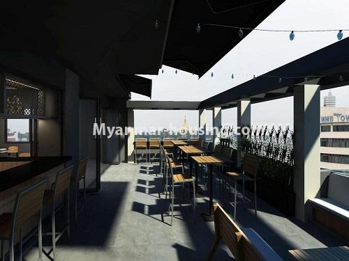 မြန်မာအိမ်ခြံမြေ - ငှားရန် property - No.4430 - မင်္ဂလာတောင်ညွန့်မြို့နယ် အထက်ပန်းဆိုးတန်းလမ်းမပေါ်တွင် အိပ်ခန်းတစ်ခန်းနှင့် ၀န်ဆောင်မှု ပေးသောခန်းတစ်ခန်း ငှားရန်ရှိသည်။restaurant at the top of the building