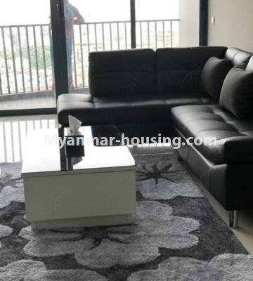 မြန်မာအိမ်ခြံမြေ - ငှားရန် property - No.4433 - မင်္ဂလာတောင်ညွန့် နေရာကောင်းတွင် ကန်သာယာ လူနေကွန်ဒိုခန်း ငှားရန်ရှိသည်။living room