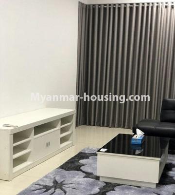 မြန်မာအိမ်ခြံမြေ - ငှားရန် property - No.4433 - မင်္ဂလာတောင်ညွန့် နေရာကောင်းတွင် ကန်သာယာ လူနေကွန်ဒိုခန်း ငှားရန်ရှိသည်။anothr view of living room