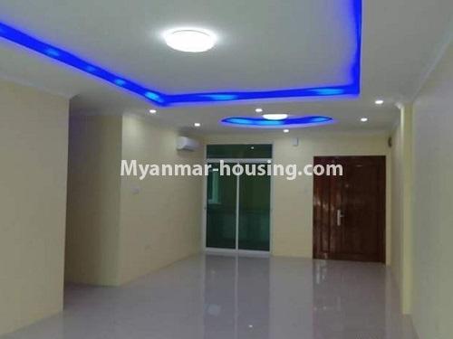မြန်မာအိမ်ခြံမြေ - ငှားရန် property - No.4448 - မြောက်ဒဂုံတွင် ပတ်၀န်ကျင်ကောင်းပြီး နေချင်စဖွယ်ပြင်ဆင်ထားသော ကွန်ဒိုခန်းသစ် ငှားရန်ရှိသည်။another view of living room