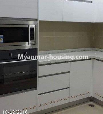 Myanmar real estate - for rent property - No.4449 - Green Lake Condominium room with Kandawgyi Lake View for rent in Mingalar Taung Nyunt! - kitchen