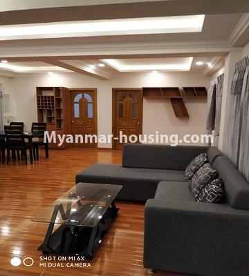 Myanmar real estate - for rent property - No.4456 - Penthouse with beautiful decoration and full furniture for rent in the Heart of Yangon! - living room