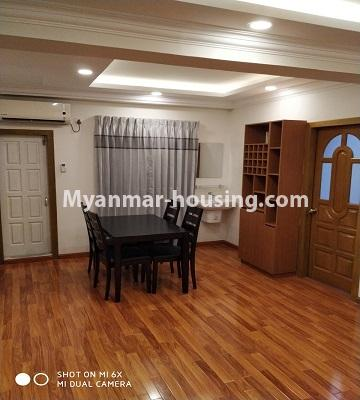 Myanmar real estate - for rent property - No.4456 - Penthouse with beautiful decoration and full furniture for rent in the Heart of Yangon! - dining area