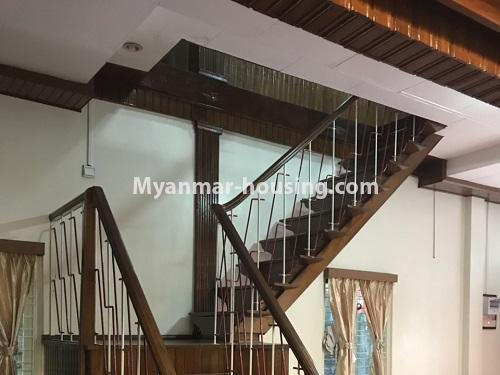 Myanmar real estate - for rent property - No.4457 - Landed house with five master bedrooms for rent in Kamaryut! - stairs to upstairs