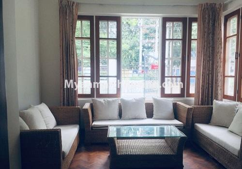 Myanmar real estate - for rent property - No.4460 - One storey furnished landed house for rent near Inya Lake! - living room