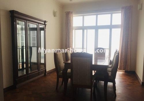 Myanmar real estate - for rent property - No.4460 - One storey furnished landed house for rent near Inya Lake! - dining area