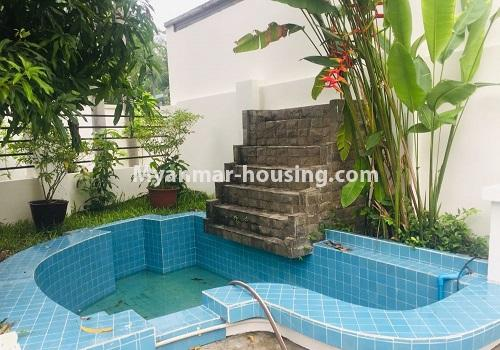 Myanmar real estate - for rent property - No.4460 - One storey furnished landed house for rent near Inya Lake! - small water fall