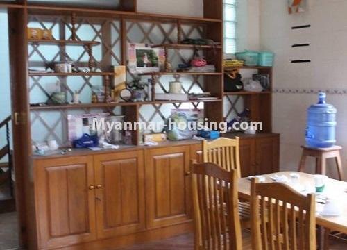 မြန်မာအိမ်ခြံမြေ - ငှားရန် property - No.4467 - သင်္ဃန်းကျွန်းတွင် လူနေရန် သို့မဟုတ် ရုံးခန်းဖွင့်ရန် လုံးချင်းအိမ် ငှားရန်ရှိသည်။dining area