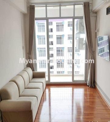 မြန်မာအိမ်ခြံမြေ - ငှားရန် property - No.4469 - ဗိုလ်တစ်ထောင် Time Square တွင် အိပ်ခန်းနှစ်ခန်းနှင့် ကွန်ဒိုခန်းငှားရန် ရှိသည်။living room