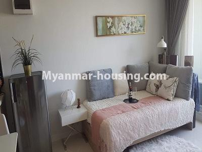 缅甸房地产 - 出租物件 - No.4473 - Studio room with standard decoration in Glaxy Tower for rent, Star City, Thanlyin! - anothr view of living room