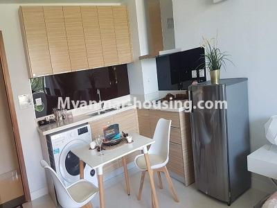 缅甸房地产 - 出租物件 - No.4473 - Studio room with standard decoration in Glaxy Tower for rent, Star City, Thanlyin! - another view of kitchen