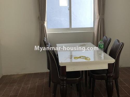 မြန်မာအိမ်ခြံမြေ - ငှားရန် property - No.4475 - စမ်းချောင်းမြို့နယ် စမ်းချောင်း Garden ကွန်ဒိုတွင် ပရိဘောဂပါပြီး အခန်းငှားရန် ရှိသည်။dining area