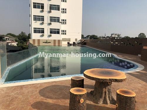 မြန်မာအိမ်ခြံမြေ - ငှားရန် property - No.4475 - စမ်းချောင်းမြို့နယ် စမ်းချောင်း Garden ကွန်ဒိုတွင် ပရိဘောဂပါပြီး အခန်းငှားရန် ရှိသည်။another view of swimming pool