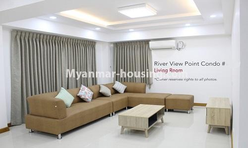 Myanmar real estate - for rent property - No.4476 - Standard River View Point Condo room for rent in Ahlone! - living room
