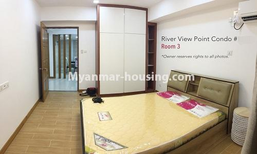 Myanmar real estate - for rent property - No.4476 - Standard River View Point Condo room for rent in Ahlone! - master bedroom 1