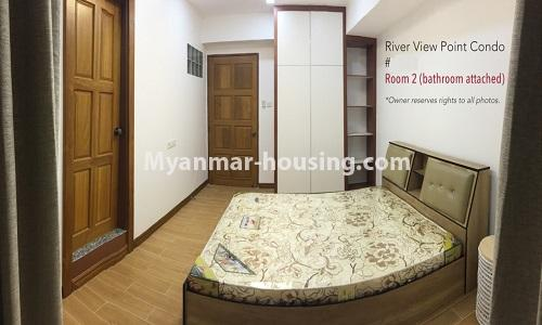 Myanmar real estate - for rent property - No.4476 - Standard River View Point Condo room for rent in Ahlone! - master bedroom 2