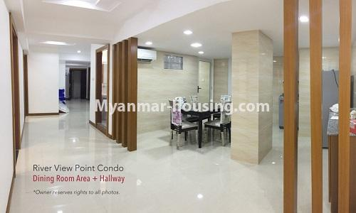 Myanmar real estate - for rent property - No.4476 - Standard River View Point Condo room for rent in Ahlone! - dining area and corridor