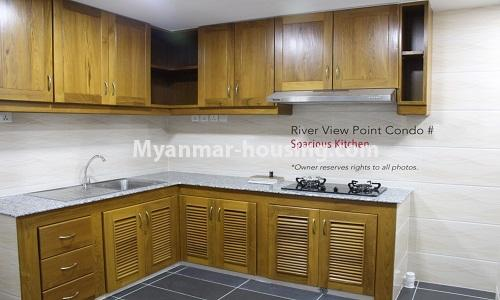 Myanmar real estate - for rent property - No.4476 - Standard River View Point Condo room for rent in Ahlone! - kitchen