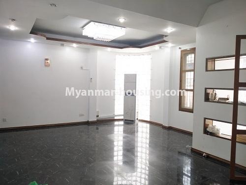 မြန်မာအိမ်ခြံမြေ - ငှားရန် property - No.4493 - ဒဂုံတွင် ရုံးခန်းဖွင့်ရန် သို့မဟုတ် လူနေရန် နှစ်ထပ်အိမ်တစ်လုံး ငှားရန်ရှိသည်။downstairs living room