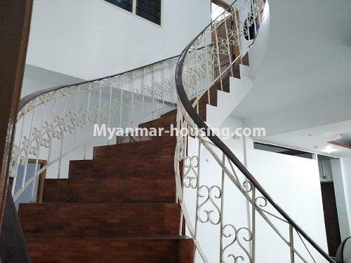 မြန်မာအိမ်ခြံမြေ - ငှားရန် property - No.4493 - ဒဂုံတွင် ရုံးခန်းဖွင့်ရန် သို့မဟုတ် လူနေရန် နှစ်ထပ်အိမ်တစ်လုံး ငှားရန်ရှိသည်။stair