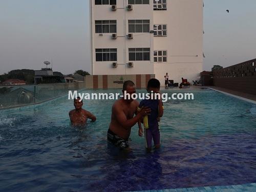 မြန်မာအိမ်ခြံမြေ - ငှားရန် property - No.4495 - စမ်းချောင်း၊ Sanchaung Garden Residence တွင် ခေတ်မှီကွန်ဒိုခန်း တစ်ခန်းငှားရန်ရှိသည်။swimming pool view